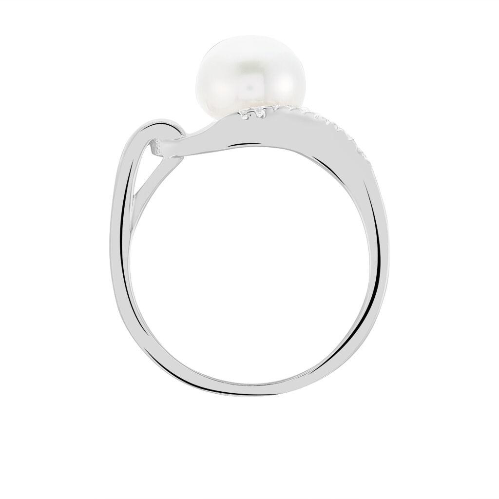 Damenring Silber 925 Zuchtperle 7,5-8mm Zirkonia - Ringe mit Stein Damen | Oro Vivo