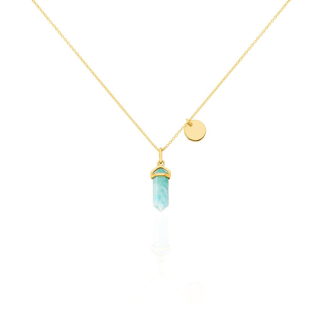 Damen Halskette Silber 925 Vergoldet Amazonit - Ketten mit Anhänger Damen | Oro Vivo