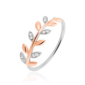 Damenring Silber 925 Bicolor Vergoldet Zirkonia  -  Damen   Oro Vivo