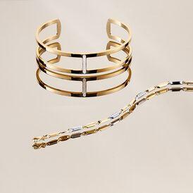 Damen Armreif Edelstahl Vergoldet Kristall -  Damen | Oro Vivo