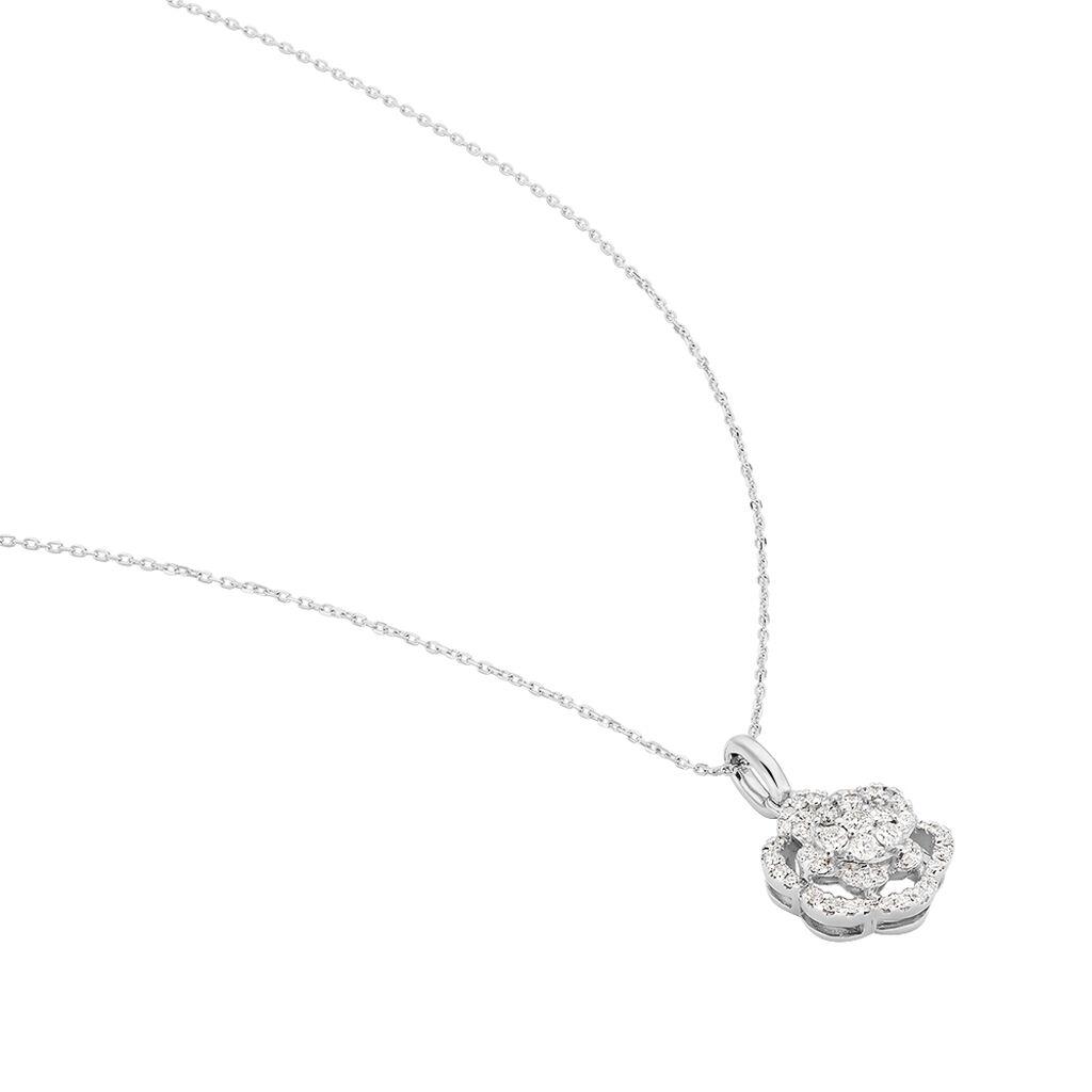 Damen Halskette Weißgold 750 Diamanten 0,34ct - Ketten mit Anhänger Damen   Oro Vivo