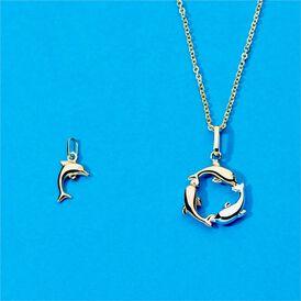 Anhänger Gold 375 Tricolor Delphin  - Schmuckanhänger Damen   Oro Vivo
