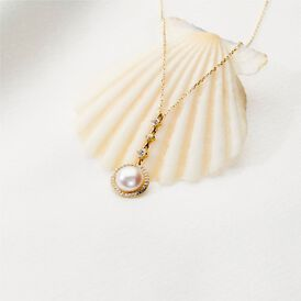 Damen Halskette Gold 585 Zirkonia Zuchtperle - Ketten mit Anhänger  | Oro Vivo