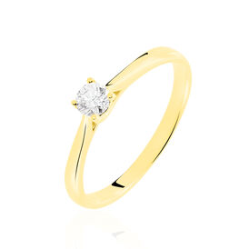 Solitärring Gold 375 Diamant 0,26ct - Ringe mit Edelsteinen Damen | Oro Vivo