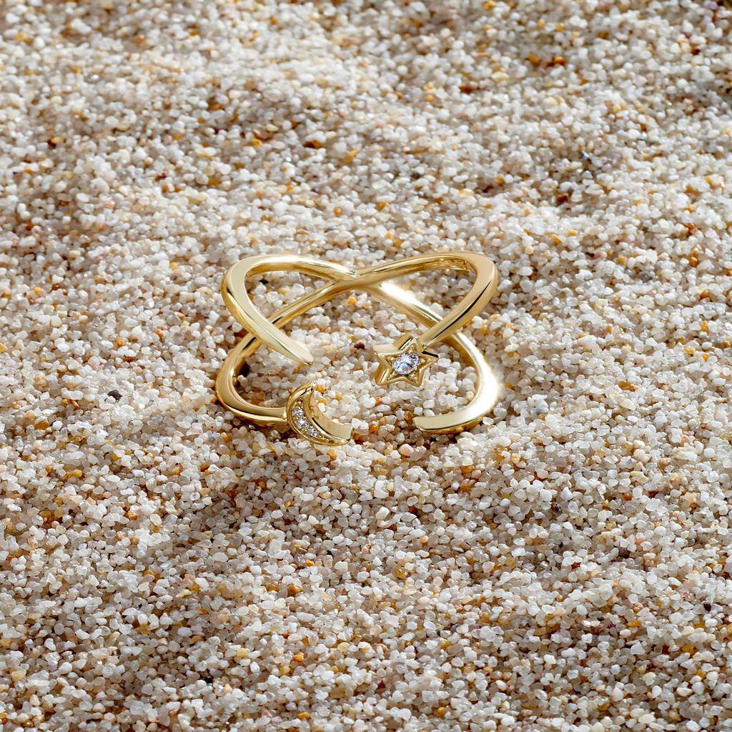 Damenring Silber 925 Vergoldet Stern Halbmond - Ringe mit Stein Damen   Oro Vivo