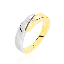 Damenring Gold 585 Bicolor Diamant 0,08ct -  Damen | Oro Vivo