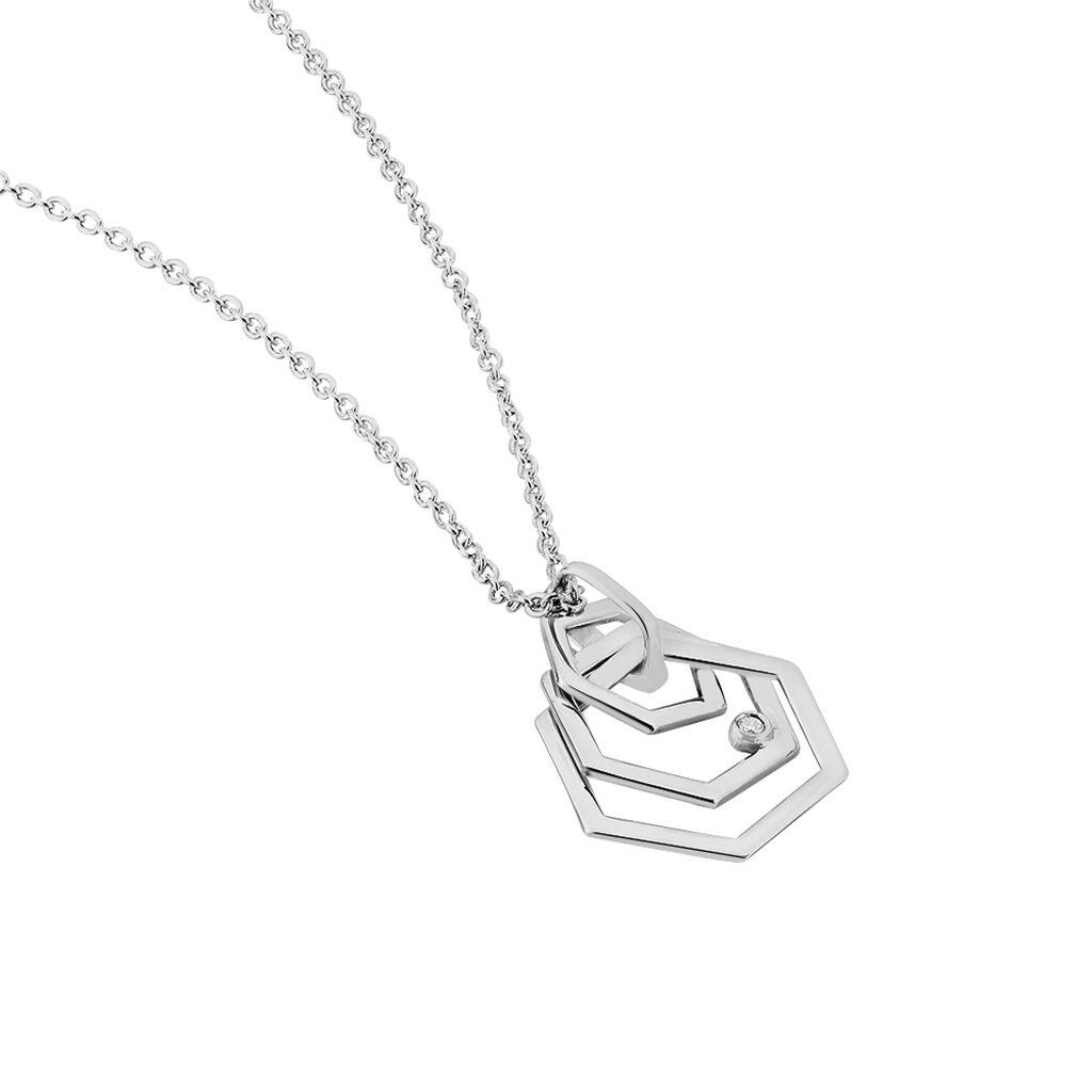 Damen Halskette Silber 925 Diamant 0,011ct - Ketten mit Anhänger Damen | Oro Vivo