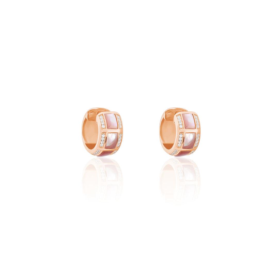 Damen Creolen Silber 925 Rosé Vergoldet Zirkonia - Creolen Damen   Oro Vivo