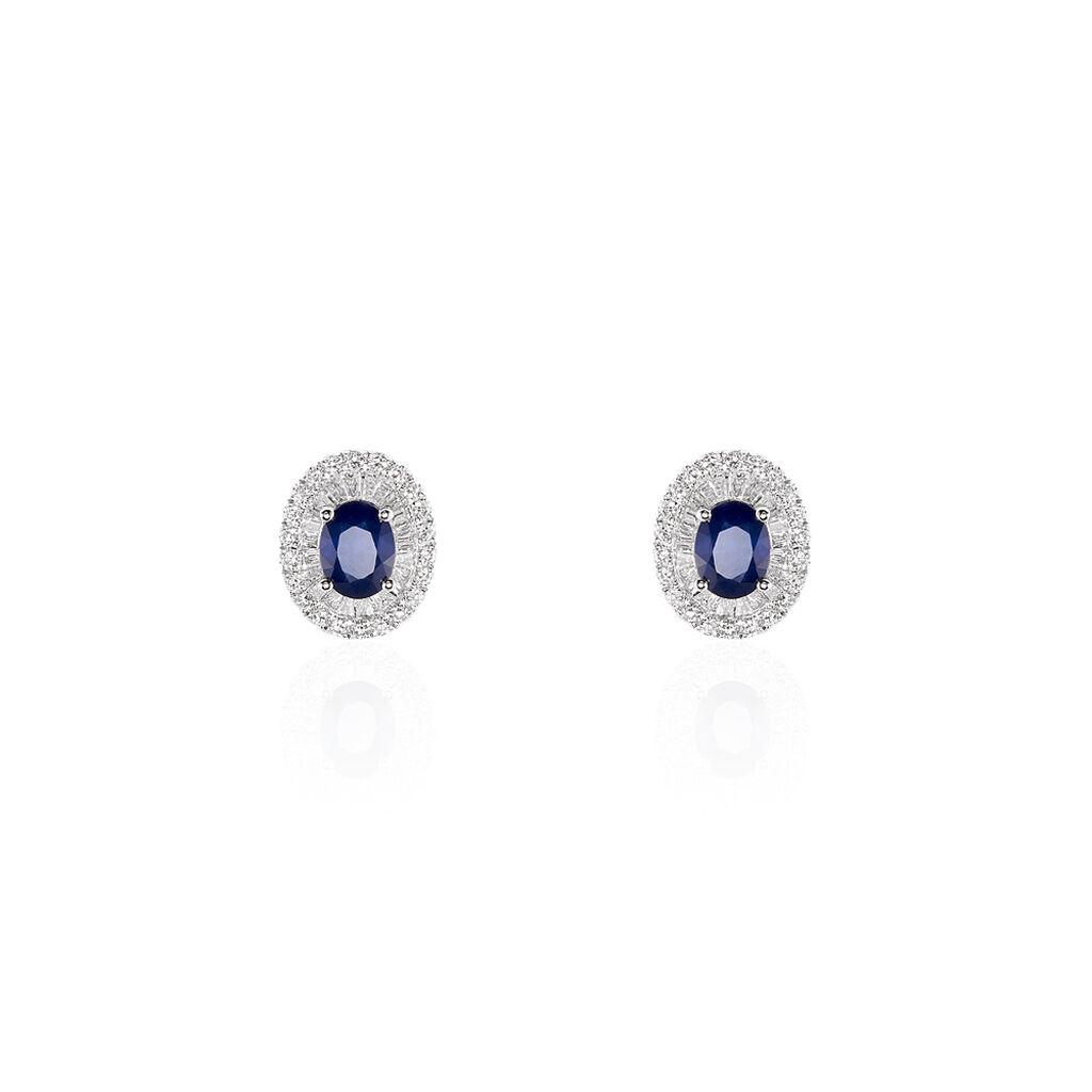 Damen Ohrstecker Weißgold 750 Saphir Diamant - Ohrstecker Damen | Oro Vivo