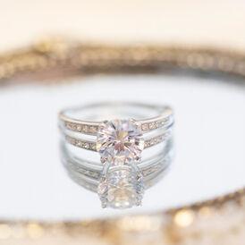 Damenring Weißgold 375 Zirkonia - Ringe mit Stein Damen   Oro Vivo