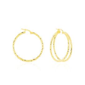 Damen Creolen Silber 925 Vergoldet 34mm - Creolen  | Oro Vivo