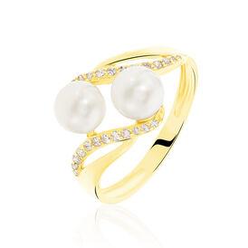 Damenring Gold 375 Zuchtperlen Zirkonia - Ringe mit Stein Damen | Oro Vivo