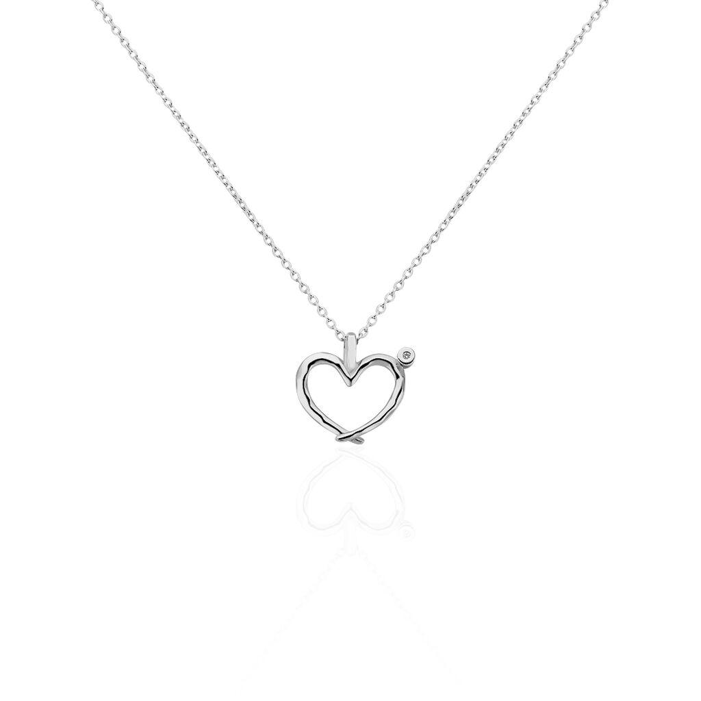 Damen Halskette Silber 925 Heiko Schrem Diamant  - Herzketten Damen | Oro Vivo