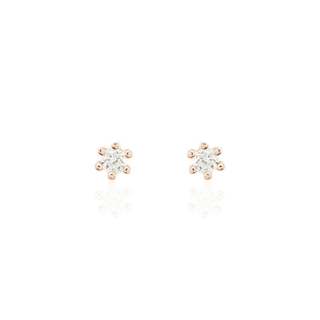 Damen Ohrstecker Gold 375 Rosé Vergoldet Diamant - Ohrstecker Damen   Oro Vivo
