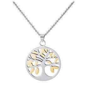 Damen Halskette Edelstahl Bicolor Lebensbaum - Ketten mit Anhänger Damen | Oro Vivo