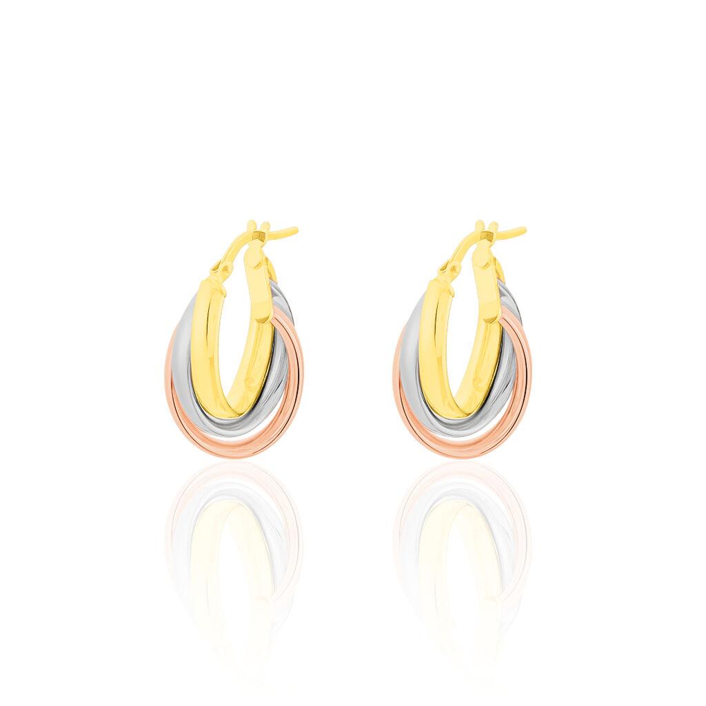 Damen Creolen Gold 375 Tricolor  - Schmuck Damen   Oro Vivo
