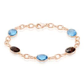 Damenarmband Silber 925 Rosé Vergoldet Blaues Glas -  Damen | Oro Vivo