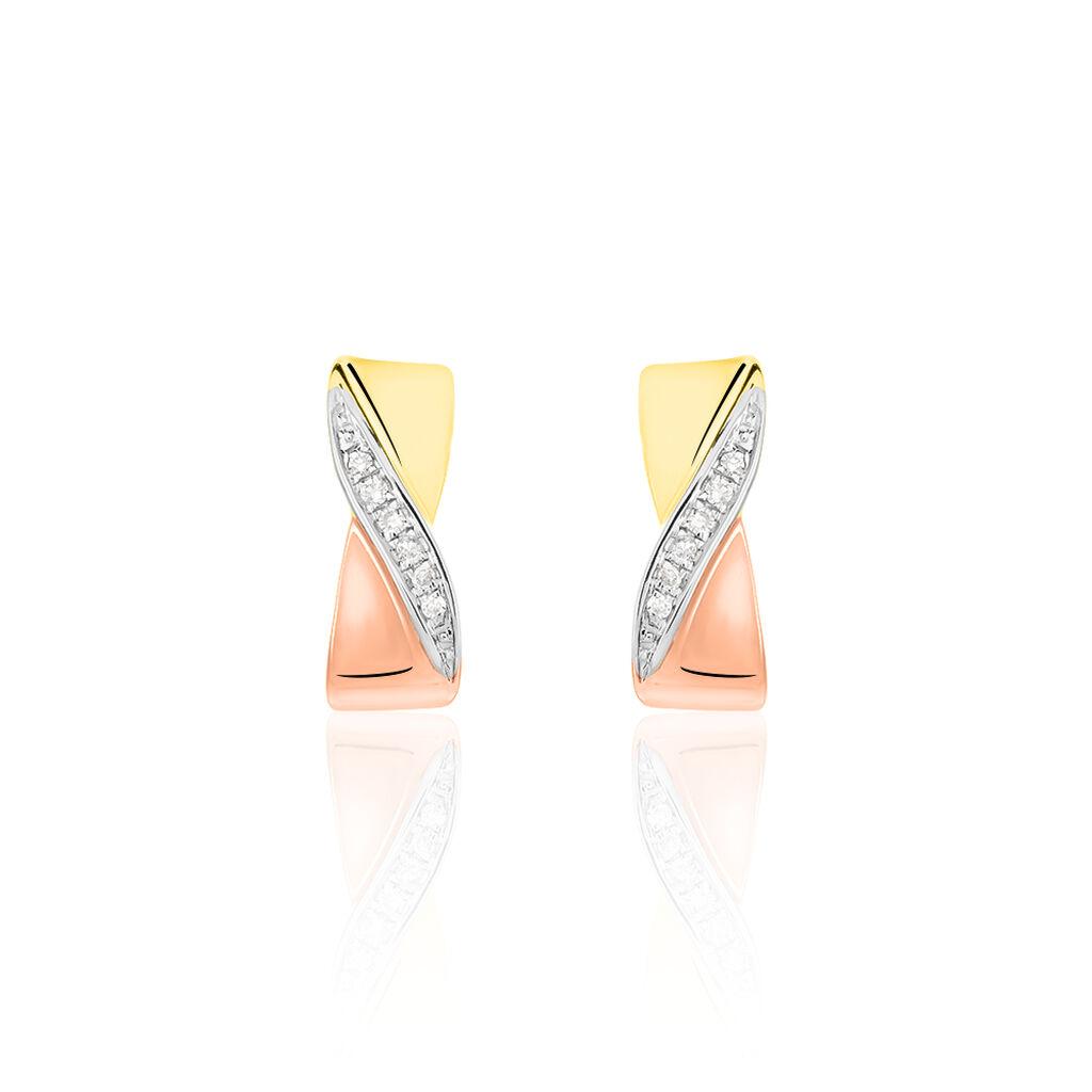 Damen Ohrstecker Gold 375 Tricolor Diamant 0,048ct - Creolen Damen | Oro Vivo