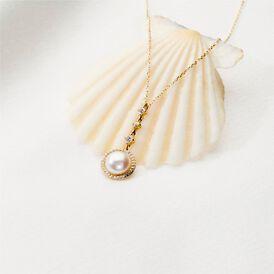 Damen Halskette Gold 585 Zirkonia Zuchtperle - Ketten mit Anhänger Damen   Oro Vivo