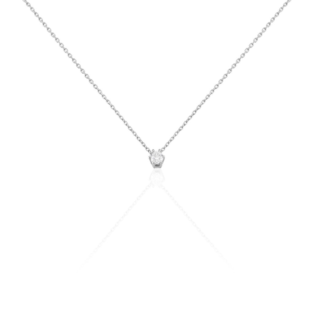 Damen Halskette Weißgold 750 Bicolor Diamant 0,2ct - Ketten mit Anhänger Damen | Oro Vivo
