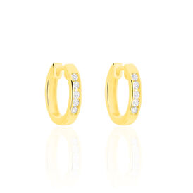 Damen Creolen Gold 375 Diamanten 0,04ct 13mm - Creolen Damen | Oro Vivo