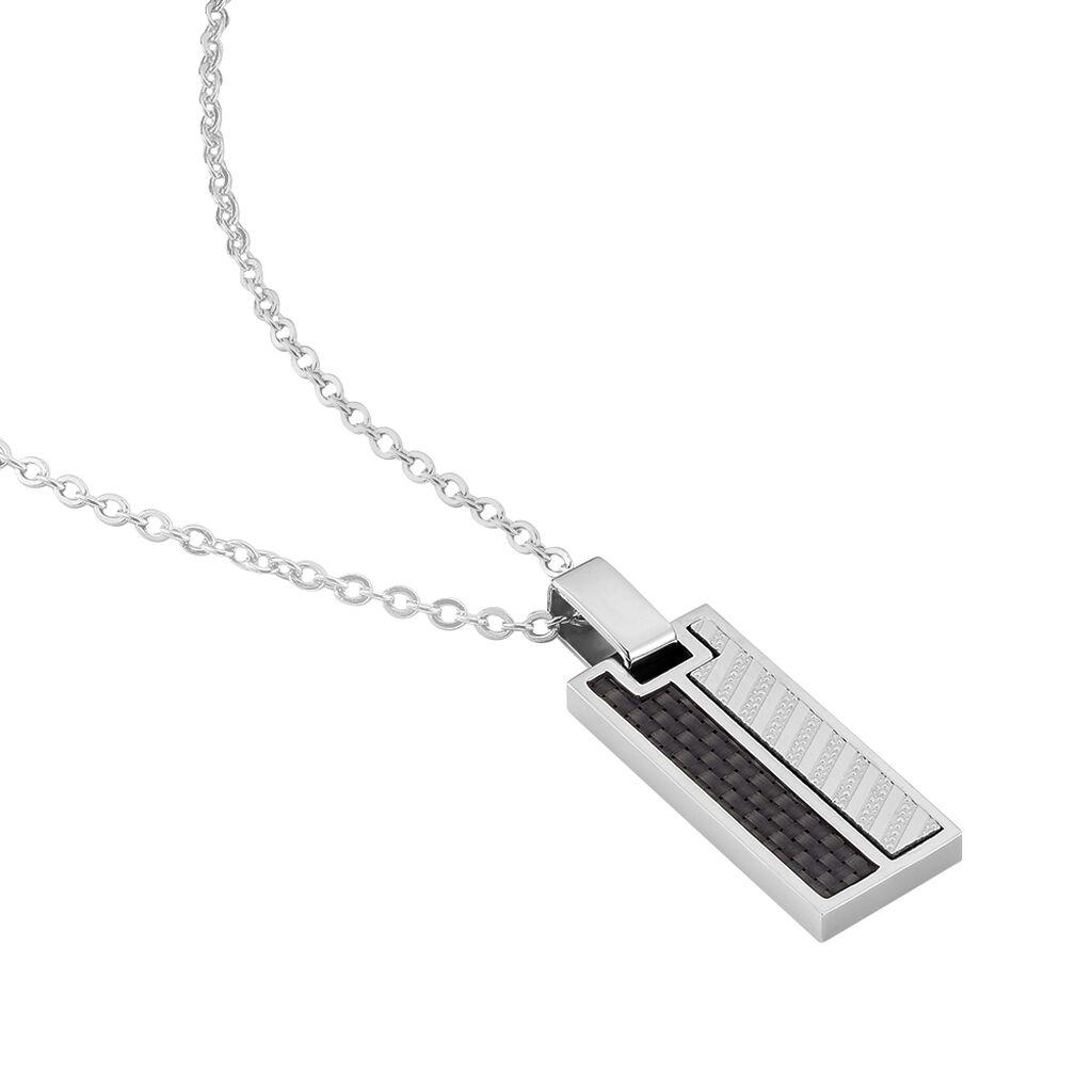 Herren Halskette Edelstahl Karbon - Ketten mit Anhänger Herren | Oro Vivo