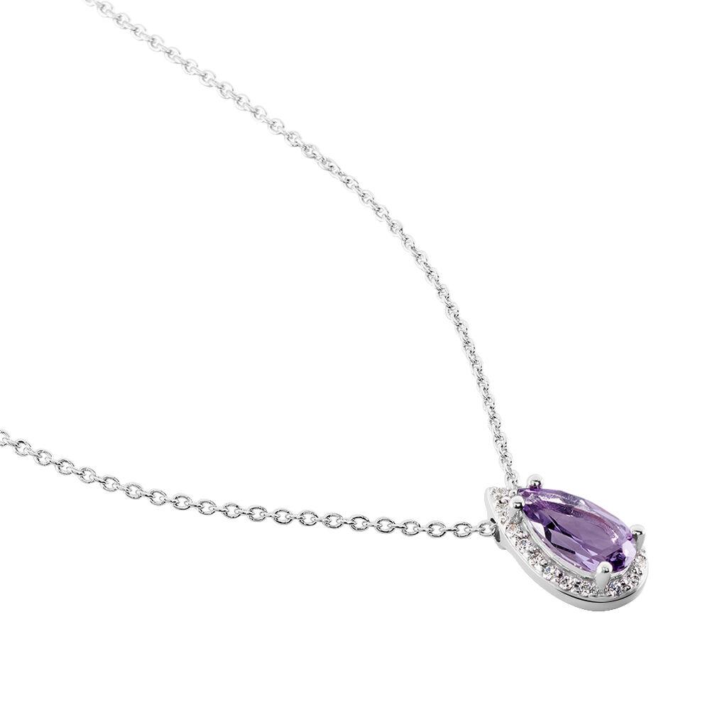 Damen Halskette Weißold 375 Amethyst Zirkonia - Ketten mit Anhänger Damen   Oro Vivo