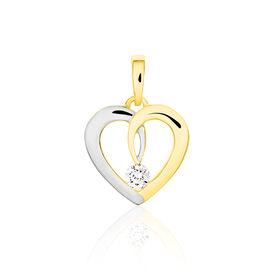 Anhänger Gold 333 Bicolor Zirkonia Solitär Herz - Herzanhänger Damen   Oro Vivo