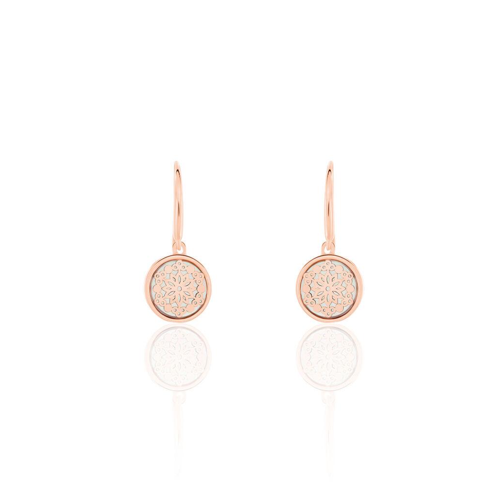 Damen Ohrhänger Silber 925 Rosé Vergoldet Perlmutt - Ohrhänger Damen   Oro Vivo