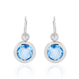 Damen Ohrhänger Lang Silber 925 Zirkonia Blau - Black Friday Damen | Oro Vivo
