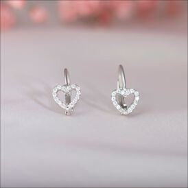 Damen Ohrhänger Lang Silber 925 Zirkonai Herz  - Ohrhänger Damen | Oro Vivo