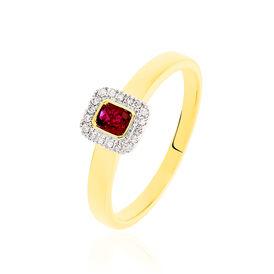 Damenring Gold 375 Rubin Diamant 0,06ct - Ringe mit Edelsteinen  | Oro Vivo
