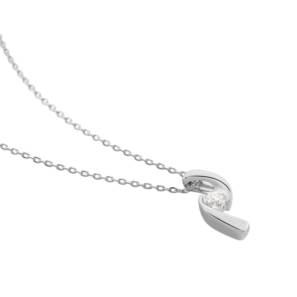 Damen Halskette Weißgold 375 Diamant 0,1ct - Ketten mit Anhänger Damen   Oro Vivo