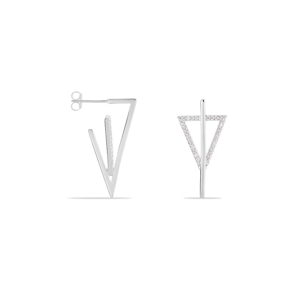 Damen Ohrstecker Lang Silber 925 Zirkonia Dreieck - Ohrstecker lang Damen | Oro Vivo