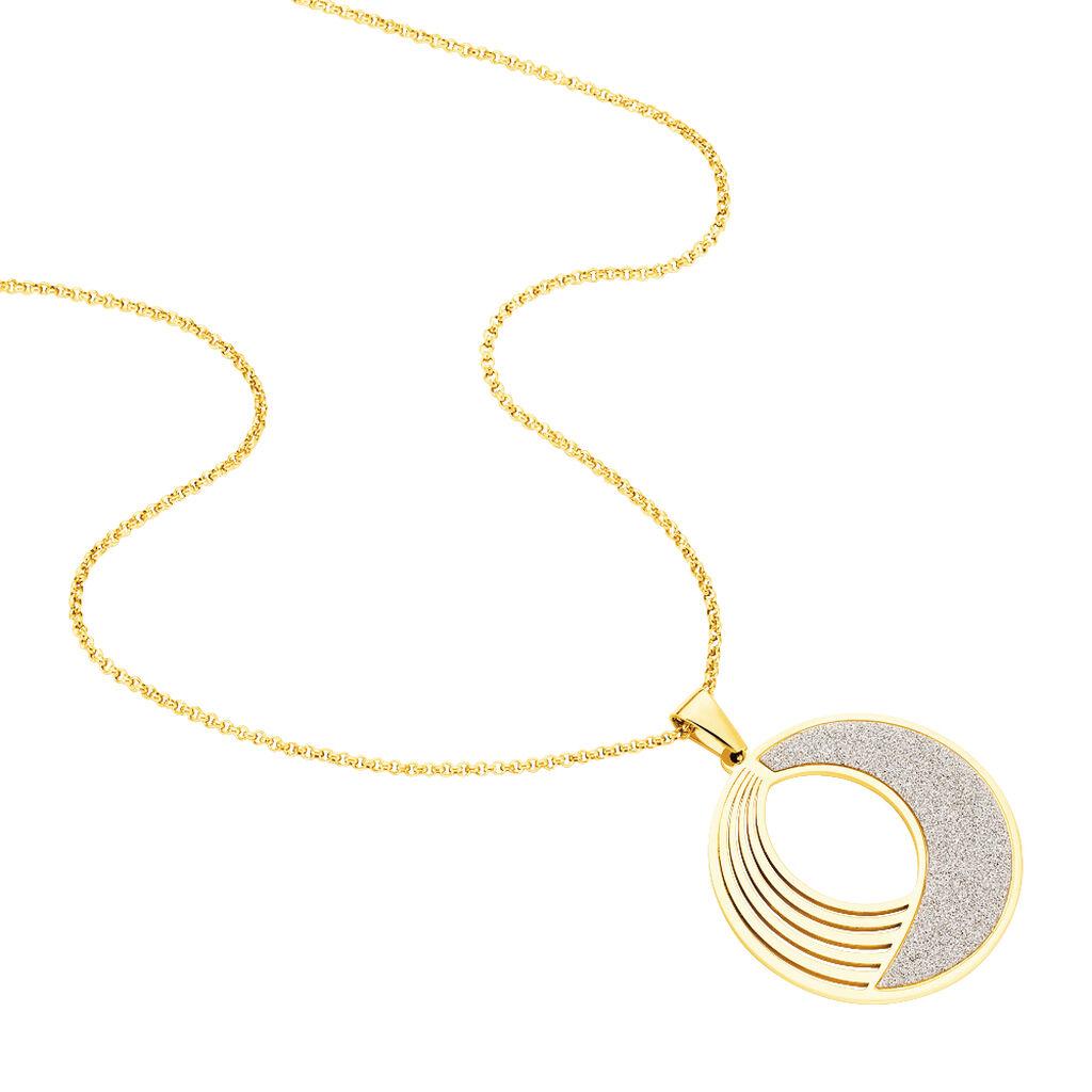 Damen Halskette Edelstahl Vergoldet Glitzer - Ketten mit Anhänger Damen | Oro Vivo