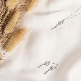 Damen Halskette Weißgold 585 Zirkonia Zuchtperle - Ketten mit Anhänger Damen   Oro Vivo
