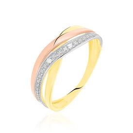 Damenring Gold 375 Tricolor Diamant 0,012ct - Ringe mit Edelsteinen Damen | Oro Vivo