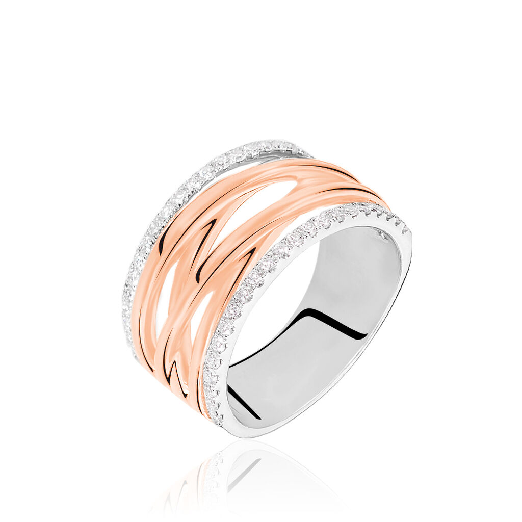 Damenring Gold 750 Bicolor Diamanten 0,337ct - Ringe mit Edelsteinen Damen | Oro Vivo
