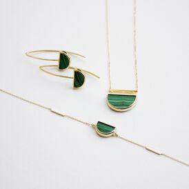Damen Halskette Gold 375 Grüner Malachit  - Ketten mit Anhänger Damen   Oro Vivo