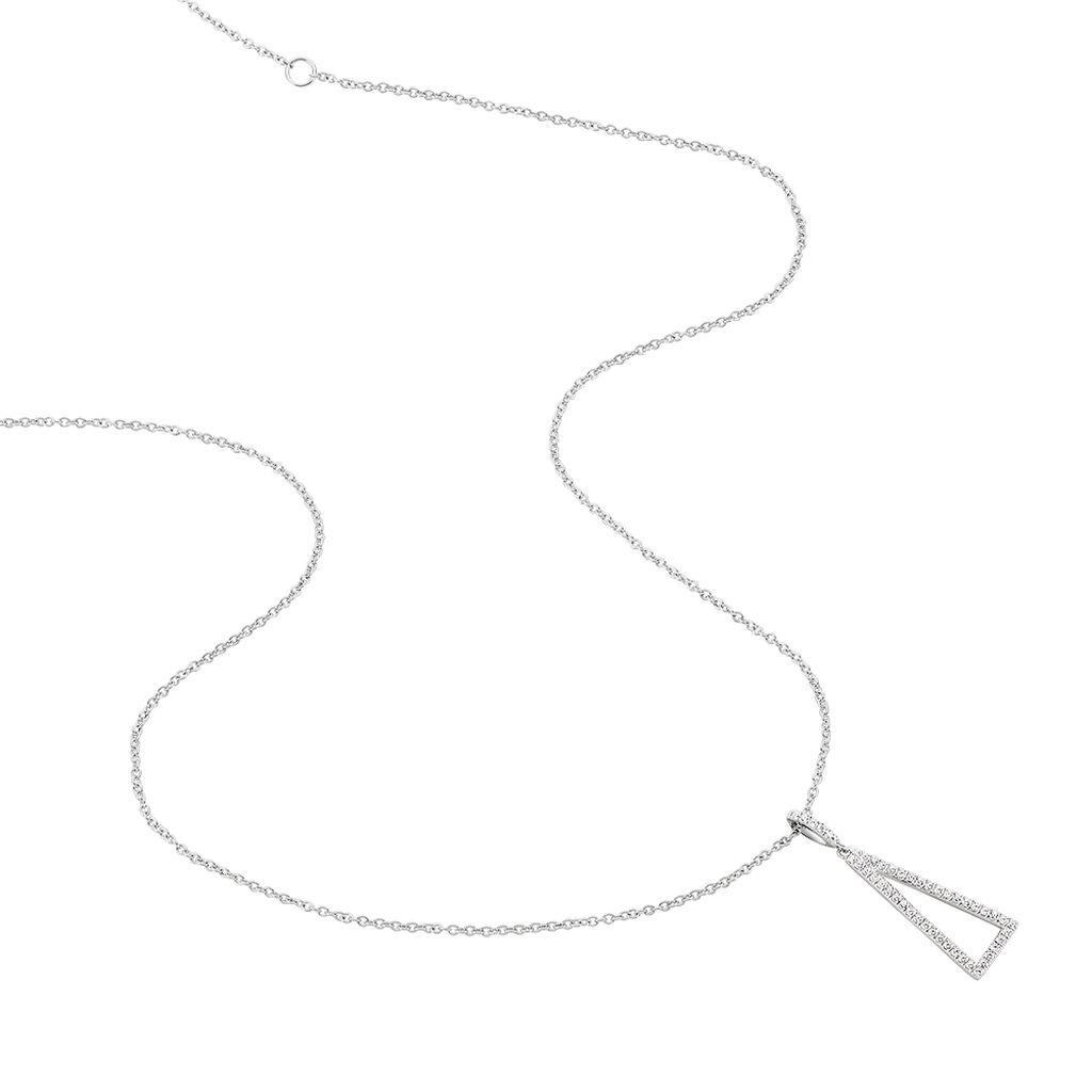 Damen Halskette Silber 925 Zirkonia Dreieck - Ketten mit Anhänger Damen | Oro Vivo