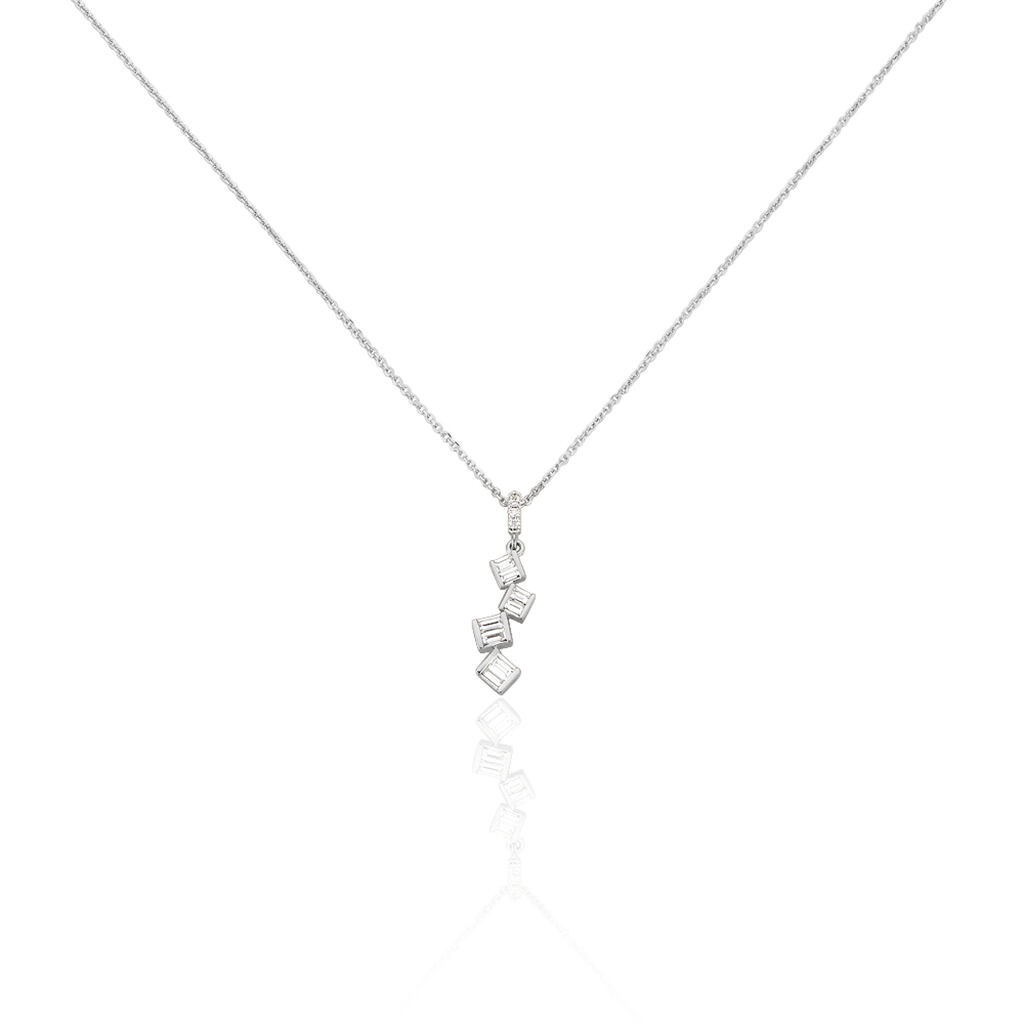 Damen Halskette Weißgold 375 Diamanten 0,3ct - Ketten mit Anhänger Damen | Oro Vivo