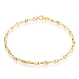 Herrenarmband Stegpanzerkette Gold 375 Bicolor  - Armketten    Oro Vivo