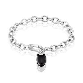 Damenarmband Edelstahl Schwarzer Achat - Armbänder Damen | Oro Vivo