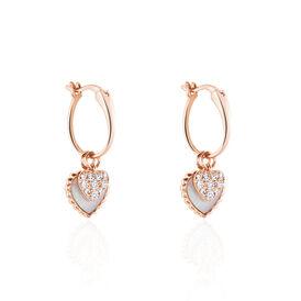 Damen Creolen Gold 375 Rosé Vergoldet Herz -  Damen | Oro Vivo