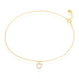 Damen Fußkette Gold 375 Zirkonia Herz -  Damen | Oro Vivo