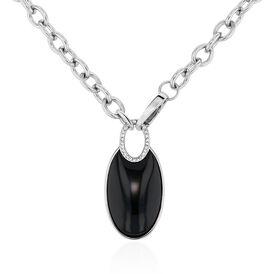 Damen Halskette Edelstahl Achat Schwarz - Ketten mit Anhänger Damen | Oro Vivo