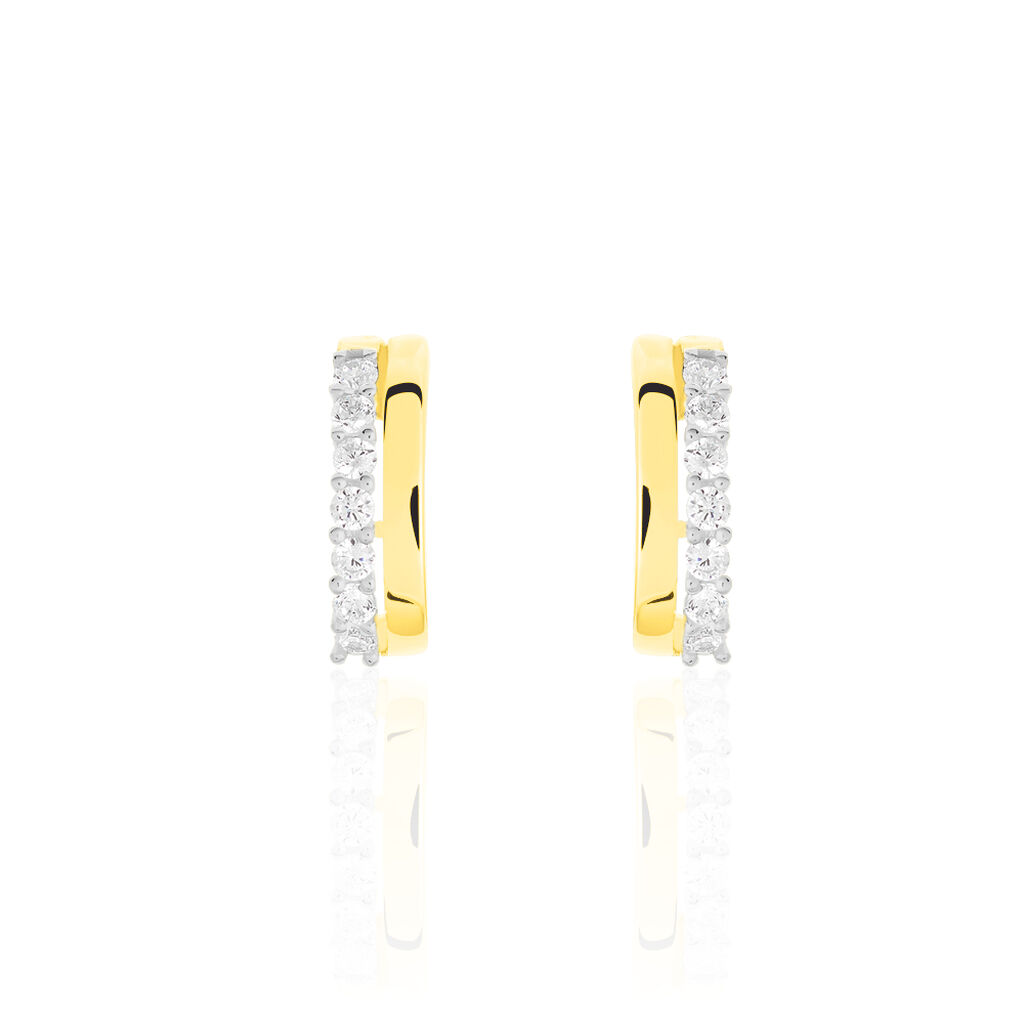 Damen Steckcreolen Gold 375 Bicolor Zirkonia - Creolen Damen   Oro Vivo