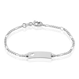 Kinder Id Armband Figarokette Silber 925 Herz - ID-Armbänder Kinder | Oro Vivo