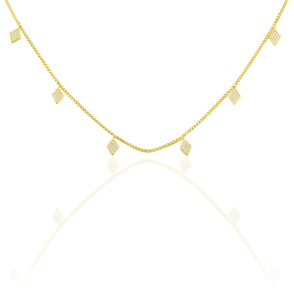 Damen Halskette Silber 925 Vergoldet Zirkonia - Ketten mit Anhänger Damen | Oro Vivo