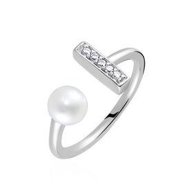Damenring Silber 925 Zuchtperle Zirkonia  - Ringe mit Stein  | Oro Vivo